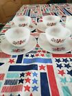 Vintage 1960's, Fire King Primrose White with flowers cups/saucers/creamer/sugar