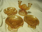 VTG LOT OF 4 ANCHOR HOCKING PEACH SHELL/FLORAL DISH/PEACH LUSTER CANDLEHOLDER