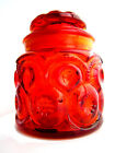 Stars Red Amberina Apothecary Jar Pressed Glass Canister