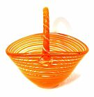 BLOCK Crystal Art Glass Basket Orange Clear Swirl Mouth Blown 10 inches Tall