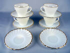10 ANCHOR HOCKING GOLD RIM SCALLOP SWIRL MILK GLASS TEA 4 CUPS 6 SAUCERS