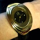 CK CALVIN KLEIN Ladies Oval Retro Gold Tone/Black Large Watch New Battery!