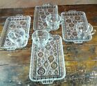 8 Pc Snack Set Anchor Hocking Anchorglass Crystal Clear Glass Sandwich Tray Cup