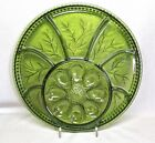 INDIANA GLASS PEBBLE LEAF GREEN .. 12 INCH DEVILED EGG-RELISH PLATE