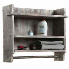 Wall Mounted Torched Wood Bathroom Organizer with 3 Shelves  Hanging Towel Bar