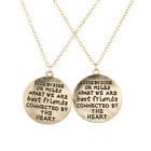 Lux Accessories Gold Tone Side by Side Best Friends BFF Charm Necklace 2PCS