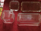 FEDERAL GLASS Vintage Ribbed Refrigerator Dishes with Lids Vegetable Design