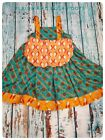 Girls Thanksgiving dress size 6 native American inspired teal gold fall