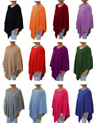 100 Cashmere Poncho Pashmina Wool Cape Wrap Soft Warm Women Long Sleeve Winter