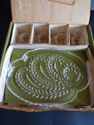 Cup Set Federal Glass Homestead Hospitality in Box 4 Plates 4 Cups