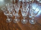 Set of 8 mid-century etched Atomic Starburst cordial glasses