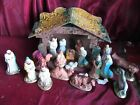 VINTAGE CHRISTMAS NATIVITY MANGER CHALK FIGURES SET 22 PIECES