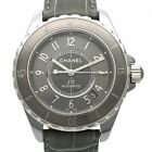 Used Auth CHANEL J12 G.10 Chromatic H4187 Men Watch Ceramic Titanium AT Gray