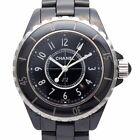 Used Authentic CHANEL J12 H0682 Women Watch Ceramic Quartz Black with Box Japan