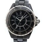 AUTHENTIC CHANEL J12 Watches black/Silver ceramic Women blackDial