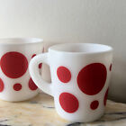 Vintage Hazel Atlas Polka Dots Dotted Mug Milk Glass 2 Mugs