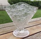 Consolidated Glass Fan Vase Bird  Floral 6 1 2