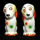 Vintage Smiling Spotted Dog Salt and Pepper Shakers with Big Eyes Made in Japan
