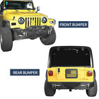 Front + Rear Bumper w 18W LED Lights Texture for 1997 2006 Jeep Wrangler TJ