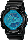 Casio G Shock GA-110B-1A2 Men's Blue Hyper Color Watch with Black Resin Band New