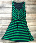 Edge Womens Striped Blue Green Sleeveless Lace Back Button Fit Flare Dress M