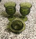 Vintage Olive Green Glass Goblet Set Of 2 With *RARE* Madhatter Style Candy Dish