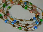 Spring Pastel Pink Green Blue Glass Bead Strand X Long 48 Necklace 4h 89