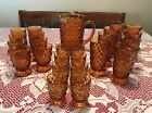 Indiana Colony WHITEHALL AMBER Glass 8 LARGE GLASSES ONLY Six Inches Tall