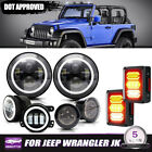7 Halo DRL LED Headlight+Fog+Turn+LED Tail Light for Jeep Wrangler JK 2007 18