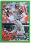 599 Carlos Santana Indians 2010 Topps Chrome Wrapper Green REF RC Rookie SP