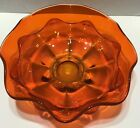 Vintage Orange Art Glass Fruit Bowl Dish With Scalloped Edges MANGANESE Uranium