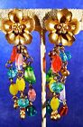 Vintage PARIS Designer FLOWERS  HEARTS GRIPOIX Cabochon Glass Bangle EARRINGS