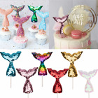 3Pcs Mermaid Tail Cake Topper Sequins Baby Shower Birthday Cupcake Decoration