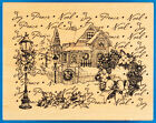 PSX Victorian Christmas Collage Rubber Stamp K 3112 House Winter Snow Lamp Post
