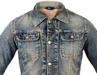 DIESEL GREGG Jeans Vintage coat Jacket mens navy fraying S biker distressed M
