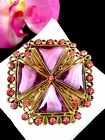 DAZZLING GOLD TONE PINK SWIRL TRIANGLE ART GLASS RHINESTONE MALTESE CROSS BROOCH