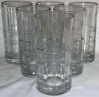 6 Anchor Hocking Manchester Tartan Grid plaid tall drinking glasses clear 16 oz