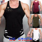 Men's Vest Sports Ripped Summer Running Tank Top Gym Shirts Casual Muscle US