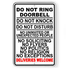 Do Not Ring Doorbell Knock Disturb Deliveries Welcome Sign METAL 5 SIZES SI187