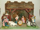 Vintage 10 by 14 W Germany Wooden Nativity Creche Paper Mache Figures Italy