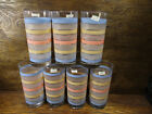 7 Vintage Striped Pastel Colors Tumblers Water Glasses Iced Tea 6 1/4