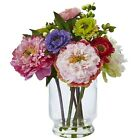 PEONY  MUM GLASS VASE NEARLY NATURAL FLORAL ARRANGEMENT ARTIFICIAL