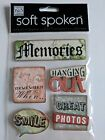MM Ideas Soft Spoken 5 pcs Memories Embellishment Stickers