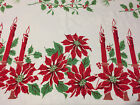Christmas tablecloth poinsettia candle holly red green vintage 60 x 76