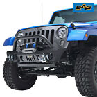 EAG Stubby Front Bumper with Winch Plate Fit for 2007 2018 Jeep Wrangler JK