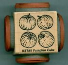 NORTHWOODS rubber stamp PUMPKIN CUBE wood mounted Fall