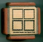 NORTHWOODS rubber stamp DOUBLE LINE CUBE wood mounted Borders Frames