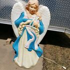 SANTAS BEST ANGEL WITH HARP Blow Mold Lighted Outside Christmas 38 TALL RARE