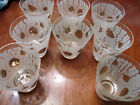 8 1950s-60s Gold and White Juice Glasses