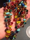 HAND BLOWN ART GLASS BEAD NECKLACE VINTAGE MULTI COLORED LONG 40 1970S ARTSY